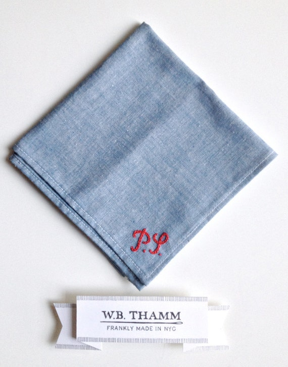 2 letters custom hand embroidered monogram a pocket square is not included