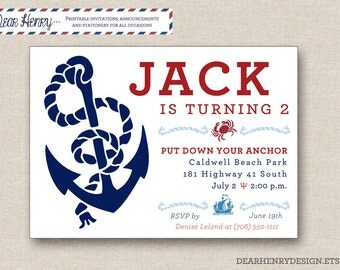 girl nautical invite  etsy, Birthday invitations