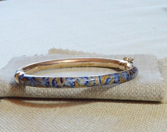 CLEARANCE SALE: Blue Mosaic Bangle Bracelet - Mosaic Pattern Enamel Bracelet - Sterling Silver Cuff Bracelet - Vintage Silver Bracelet