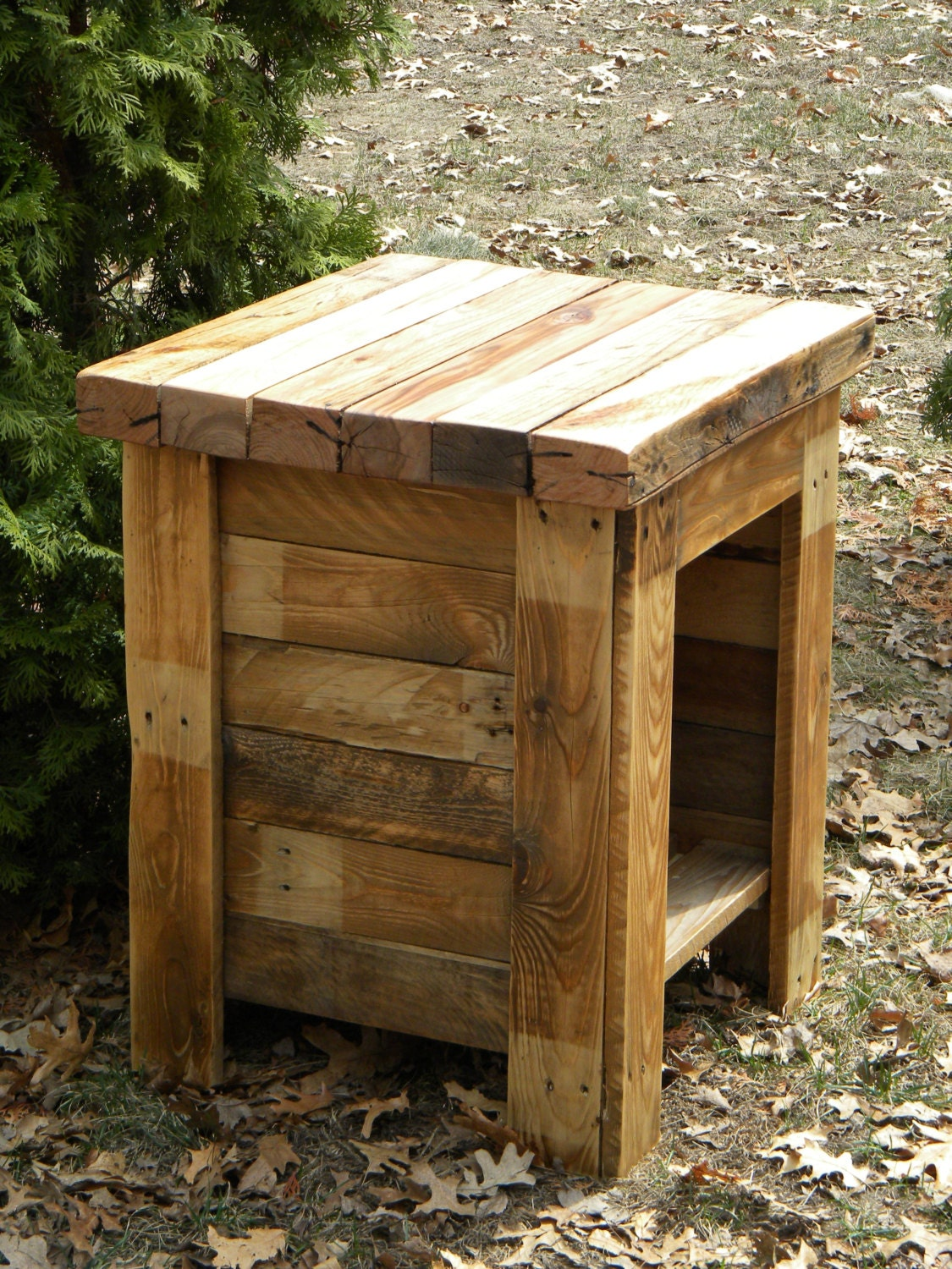Reclaimed Wood End Tables ~ Reclaimed barn wood furniture at the galleria