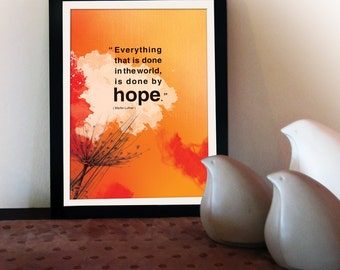A4 Inspirational poster with hope quote. Positive thinking for office wall decor or graduation gifts. Inspiring quote poster.