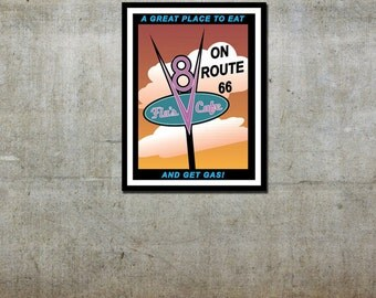 Flo's V8 Cafe - Cars / Disney Pixar Inspired - Movie Art Poster