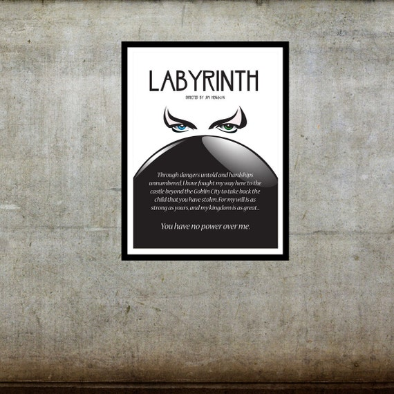 No Power Over Me Labyrinth Inspired Movie Art Poster Labyrinth Movie Quotes You Have No Power Over Me