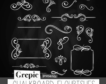 "Chalkboard flourishes: Digital clipart ""CHALKBOARD FLOURISHES"" pack with chalkboard flourishes, frames, ornaments and elements"