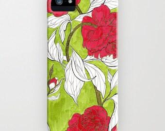 Red Peonies // Phone Case // iPhone  5c // iPhone 5/5s // iPhone 5c // iPhone 6/6s // Samsung Galaxy S7 // iPhone 7