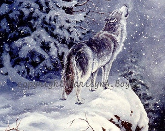 PRINT WOLF -  winter, snowing, howling, cliff, tree, nature, wilderness