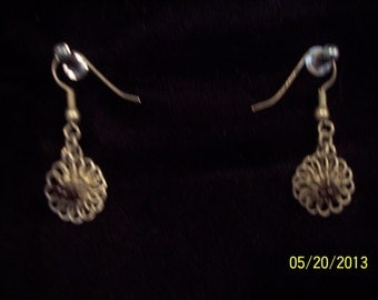 Earrings: Vintage Silver India Fashion with Maroon Bead Center #59