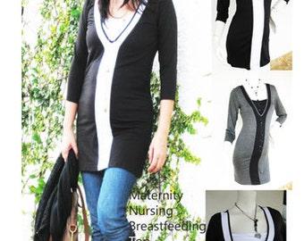 VERA Maternity Clothes Nursing Tops Breastfeeding shirt Maternity Clothing, NEW Original Design Black Nursing Clothes