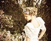 SALE - 50% code ALLYOUNEEDISLOVE Wedding dress Beaded Satin and Lace tulle Full Skirt 1980ies Draped bridal Princess dress size S M