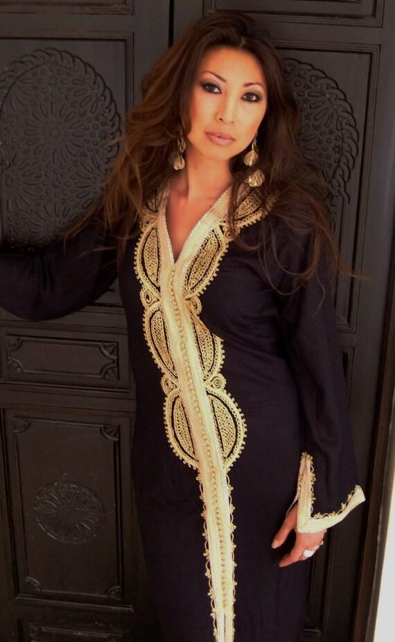 Black Moroccan Caftan Kaftan -Lella- Kaftan, Caftan, loungewear,resortwear,spa robe,beach cover up, Birthdays or Maternity Gifts