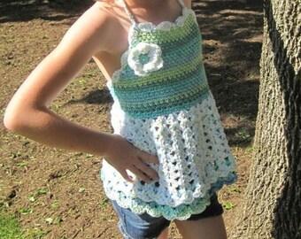 Hello Summer 4T 6T Girls Halter TOP or DRESS crochet PATTERN