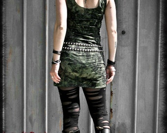 DUSTY - Mini Dress Post Apocalyptic Military Wasteland Dystopia Industrial Grunge Tube Dress