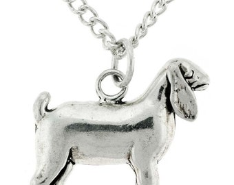 Stock Show Nanny Goat Necklace in Sterling Silver, FFA, 4H, Stock Show Animal, Farm Animal, Nubian Goat, Ag, Sterling Silver, Free Box Chain