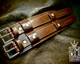 "Leather cuff Bracelet Bracer 3"" Wide rich brown Bridle leather wristband Custom made for You in NYC by Freddie Matara"