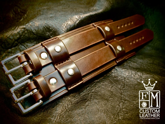 """Leather cuff Bracelet Bracer 3"""" Wide rich brown Bridle leather wristband Custom made for You in NYC by Freddie Matara"""