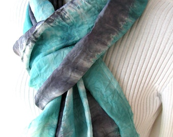 Silk Infinity Scarf- Celadon Green and Gunmetal Gray Scarf winter fashion scarf Shibori Dyed Circular cowl  scarf women unique handmade gift