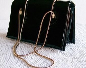 "Purse Handbag Black Patent Leather Vinyl ""Mondaine"" 1950s Evening Bag"