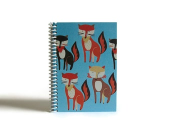 Red Foxes Bunch A6 Notebook, Blank Sketchbook, School Supplies, Writing Journal, Blue Red, Spiral Bound, Cute Gifts Under 15, Back to School