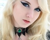 Steampunk choker Victorian black gothic lace necklace with chains, cross and ornate Emerald green pendant - LUCRETIA