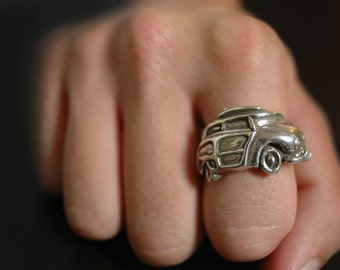 1949 Woody Angled Wrap Ring in White or Gold Bronze