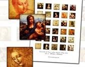 """Leonardo Da Vinci inchies digital collage sheet 1"""" square 25mm master artist fine art sepia mona lisa"""