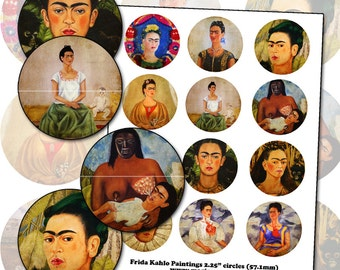 Frida Kahlo Paintings 2.25 inch circle digital collage sheet  57mm round
