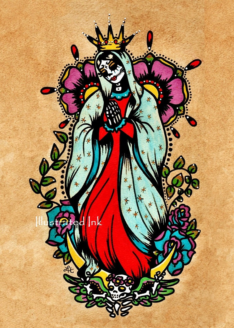 Day of the dead virgen de guadalupe old school tattoo art for Old school day of the dead tattoo