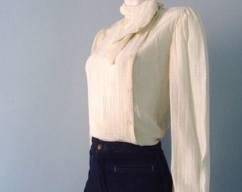 Vintage Asymmetrical 80s Secretary Blouse Off White with Collar Tie