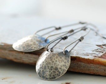 Moon Earrings, Lunar Jewelry, Hammered Silver Earrings, Metalwork Earrings, Long Dangle Earrings, Statement Earrings, Rustic Earrings - Luna