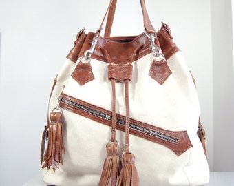 SALE Lucie - Handmade Tan Brown Leather & Natural Cotton Canvas Tote Shopper Bag.