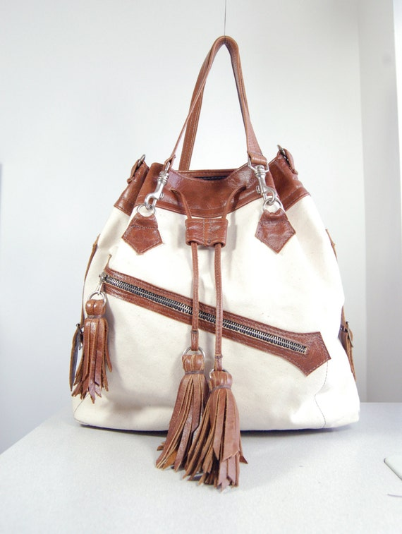 Reserved SALE Lucie - Handmade Tan Brown Leather & Natural Cotton Canvas Tote Shopper Bag.