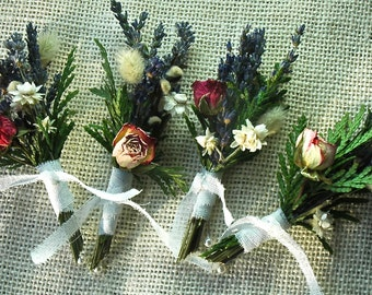 Dried Lavender, Cedar  and Rose Corsages or Boutonnieres
