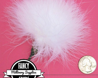 1 - White - Marabou - Ostrich Feather - Pom Pom - Poof - Millinery - Bouquet Pick
