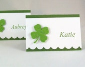 Shamrock Place Cards / Irish Wedding Escort Cards / Buffet Food Labels / Shamrock Treat Bag Toppers / St Patrick's Day Party Seating Cards