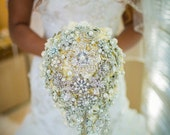 Rich pearl cascading brooch bouquet -- deposit on a made-to-order wedding bouquet