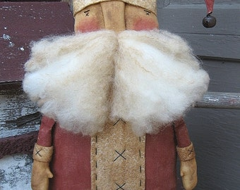 Prim Claus EPATTERN...primitive country christmas santa cloth doll craft digital download sewing pattern...PDF...1.99