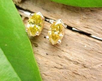 Yellow Diamond Earrings in 14k Yellow Gold, Tiny 5 x 2.7mm Studs