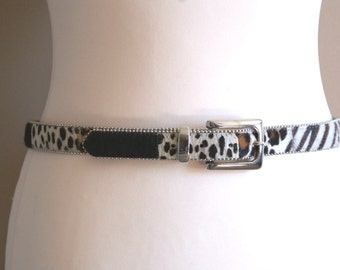 Pony Hair Belt with  Multiple Animal Prints