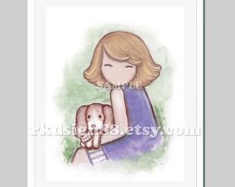 Dog wall art illustration, nursery art print, baby nursery decor, children decor, girl, beagle painting, dog painting, I Will Keep You 8x10