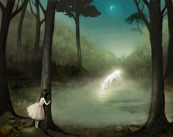No One Would Ever Believe Her 8x10 Print - Unicorn art landscape - unicorn print, girl and unicorn, girls room, fantasy- by Meluseena