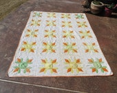 Beautiful Vintage Flower quilt in Yellow, Orange and Green
