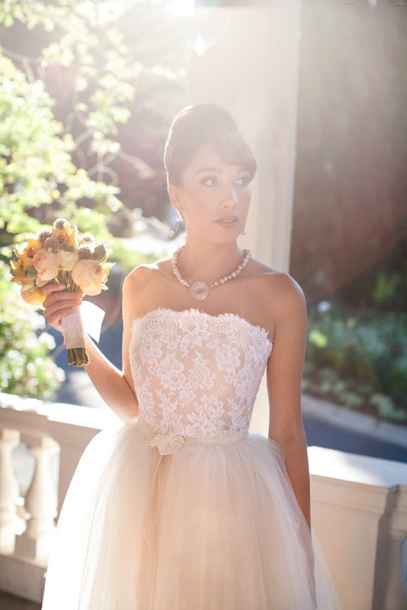 SABRINA-Chantilly lace sheath with tulle overskirt