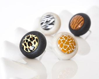 Jungle Safari Animal Print Pushpins Zebra, Tiger, Giraffe and Leopard in Summer Pearl White and Black Polymer Clay Gift Set of 4 Push Pin