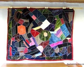 1900s Crazy Quilt Lush Fabrics, Zig Zag Stitching Antique