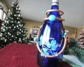 Wine Bottle Necklace - Blue Beads - Celebration - Gift Giving - for Host or Hostess - for Bride & Groom