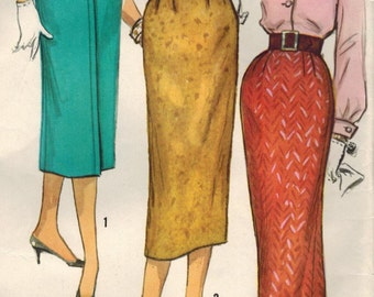 1950s Simplicity 2196 Vintage Sewing Pattern Misses Slim Skirt, Pencil Skirt, Wiggle Skirt Waist 25, 26, 27