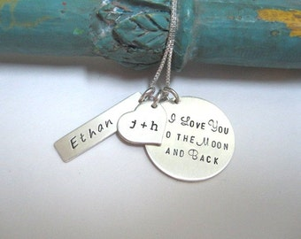 Personalized Mothers Hand Stamped Necklace ...To the Moon and Back ...  Hand Stamped Jewelry ... Mothers Necklace ... Personalized Jewelry .