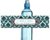 """Damask  Wedding Water Bottle Label  Pick Your Color  2x 7.5 """" digital  Printable DIY"""