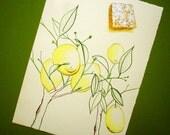 Fun Kitchen Art, Lemon Square, Food Art, Botanical Art, Art for Kitchen, Acrylic Painting, Foodie Art, Gift for Baker, Ink Drawing, 6x8