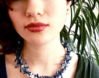 Mermaid's Wedding -- Keshi pearl choker in blue and white